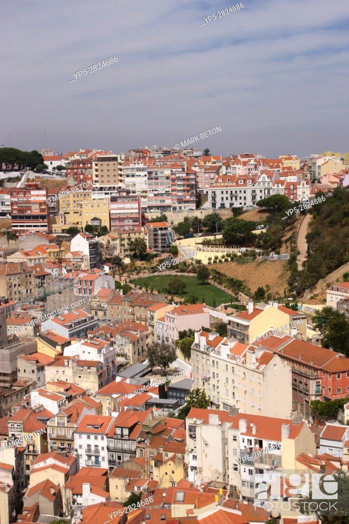 Stock Photo: Lisbon suburbs skyline Portugal.
