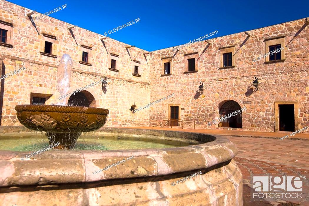 Stock Photo: Fountain in the courtyard of a building, Casa De La Cultura, Morelia, Michoacan State, Mexico.