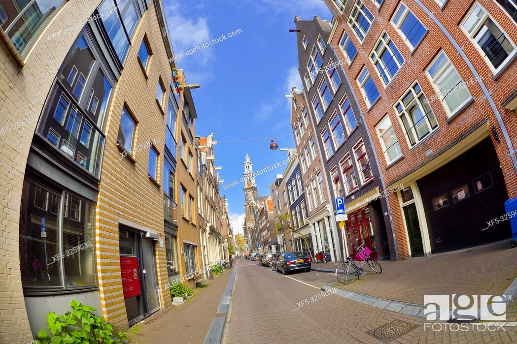 Stock Photo: Street Scene, Traditional Architecture, Amsterdam, Holland, Netherlands, Europe.