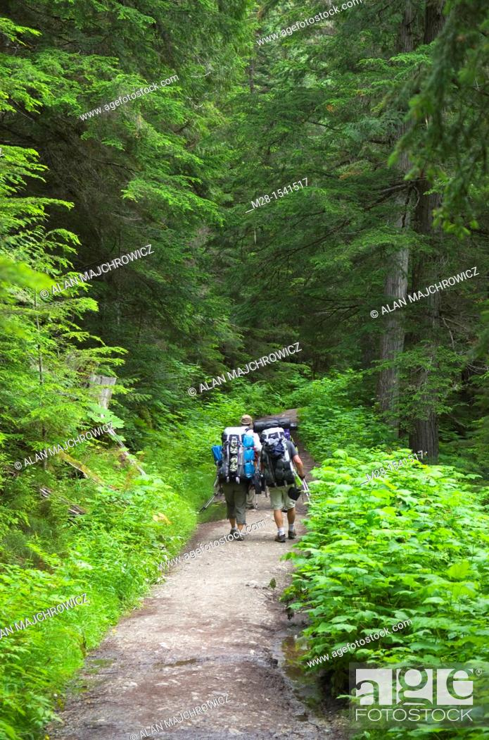 Stock Photo: Backpackers on the Berg Lake Trail Mount Robson Provincial Park British Columbia Canada.