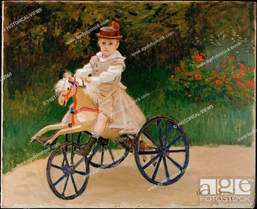 Stock Photo: Jean Monet (1867-1913) on His Hobby Horse. Artist: Claude Monet (French, Paris 1840-1926 Giverny); Date: 1872; Medium: Oil on canvas; Dimensions: 23 7/8 x 29.