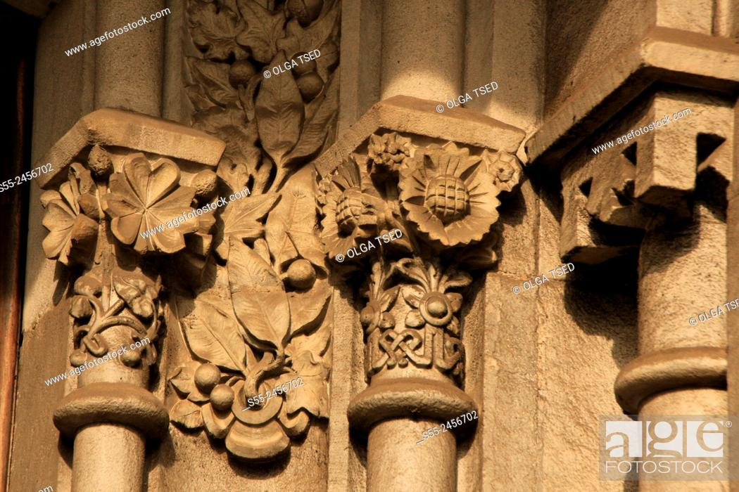 Stock Photo: Decorative elements on the modernist building. Rambla Catalunya, Barcelona, Catalonia, Spain.