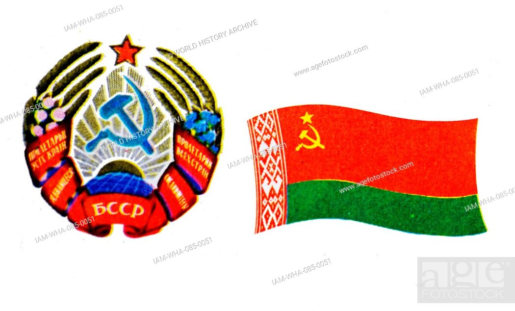 Stock Photo: The flag of the Byelorussian Soviet Socialist Republic and Emblem. The Latvian Soviet Socialist Republic, established during World War II as a puppet state.