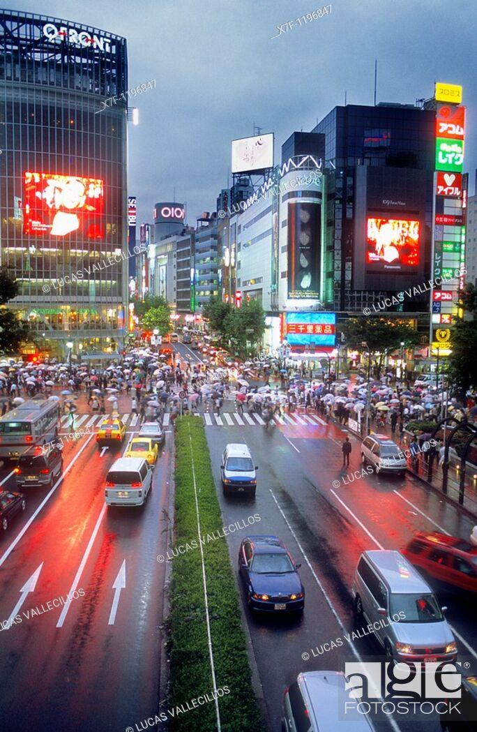 Stock Photo: Shibuya Scramble Kousaten crossing in Hachiko square  Tokyo city, Japan, Asia.