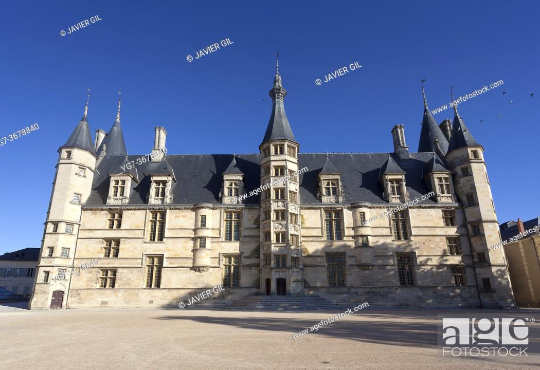 Stock Photo: Ducal palace in Nevers, Nievre, Bourgogne-Franche-Comte, France.