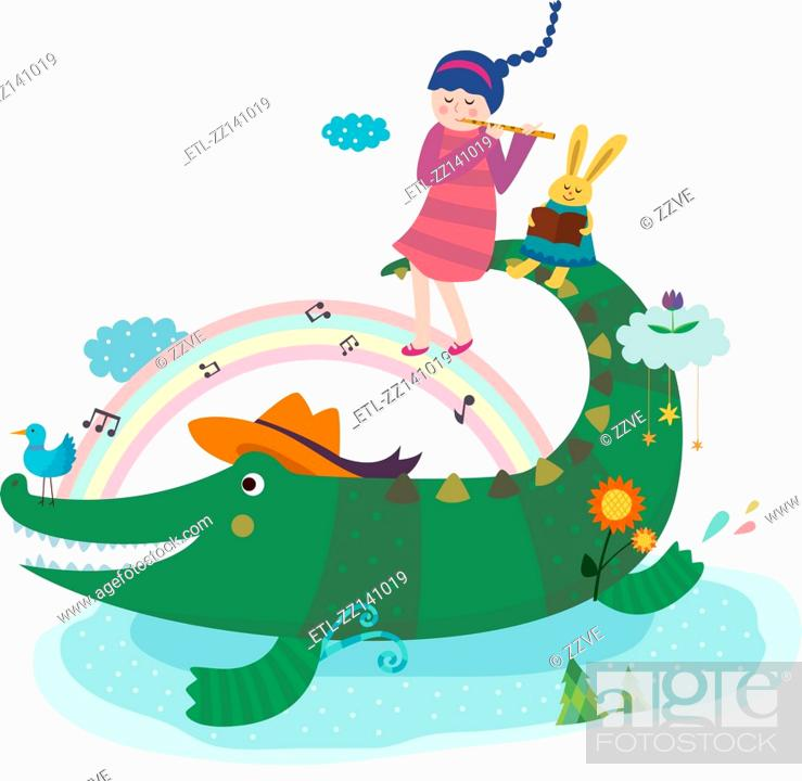 Stock Photo: crocodile and playing pipe girl.