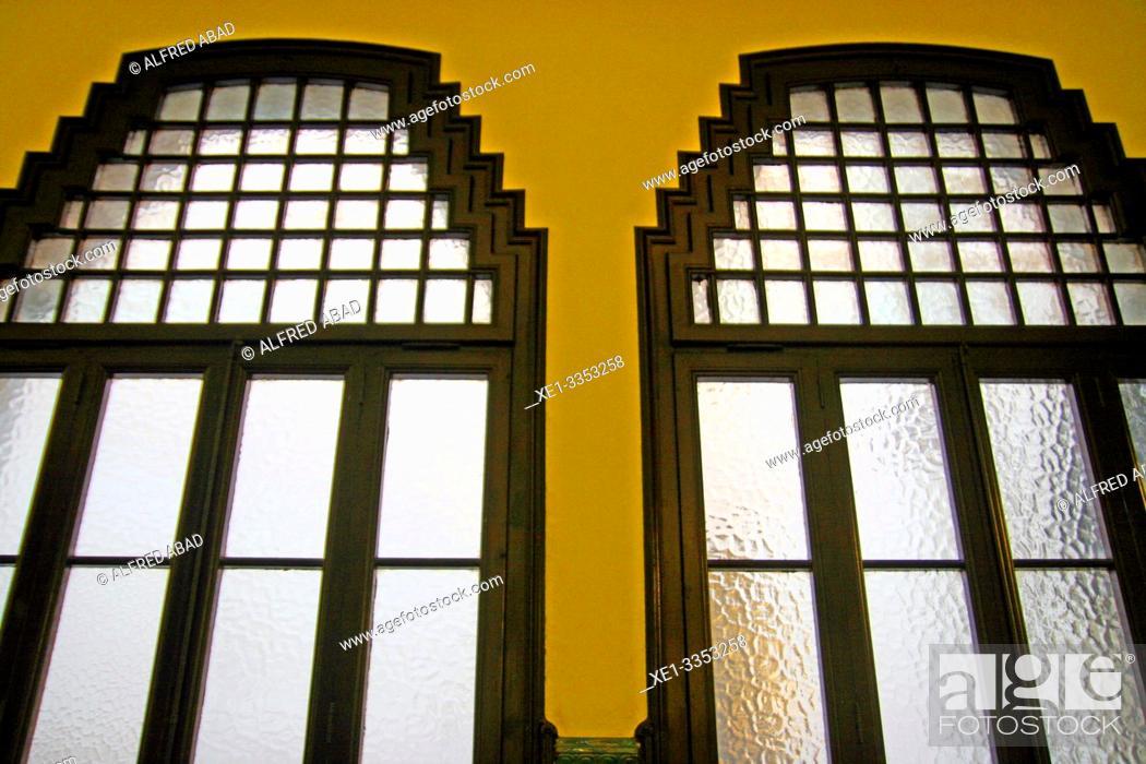 Stock Photo: windows, building of the Municipal Conservatory of Music, 1916, architect Antoni de Falguera i Sivilla, Barcelona, Catalonia, Spain.