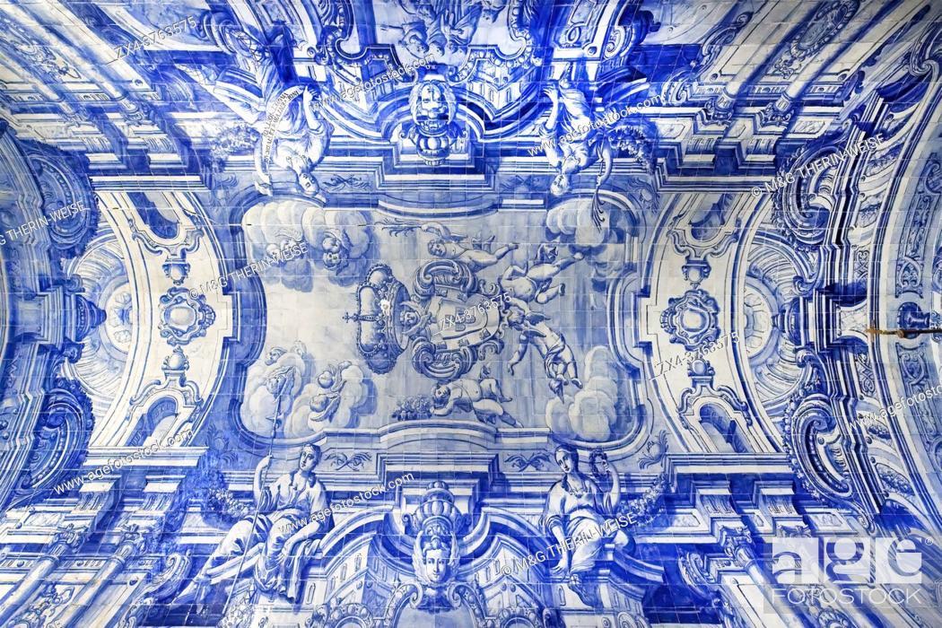 Stock Photo: Blue Azulejos in Sao Filipe castle Chapel, Setubal, Lisbon Coast, Portugal.