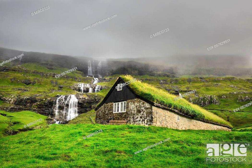 Stock Photo: Historic stone house with turf roof on the island of Streymoy, Saksun, Faroe Islands.
