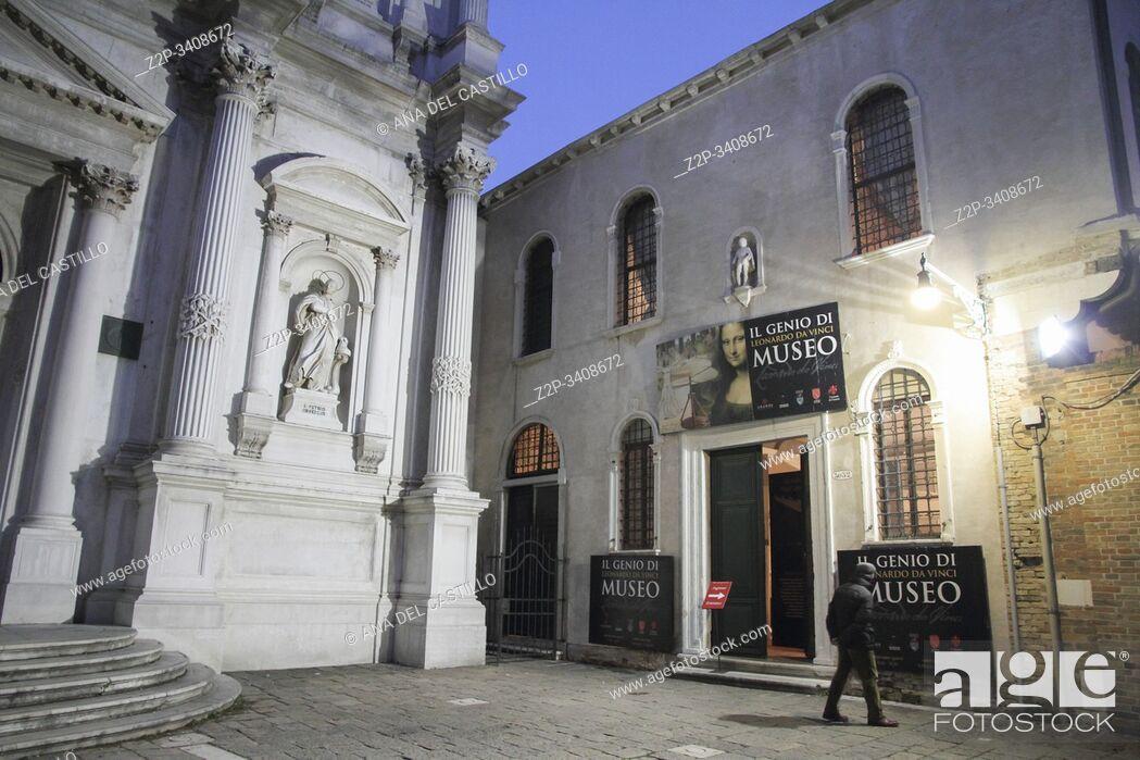Stock Photo: Cityscape in Venice at night Veneto Italy. Leonardo da Vinci museum by night.
