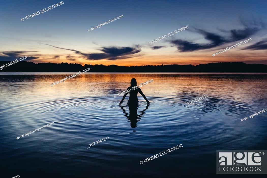 Stock Photo: Sunset over Radunskie Dolne lake in Kashubian Lake District of Poland.