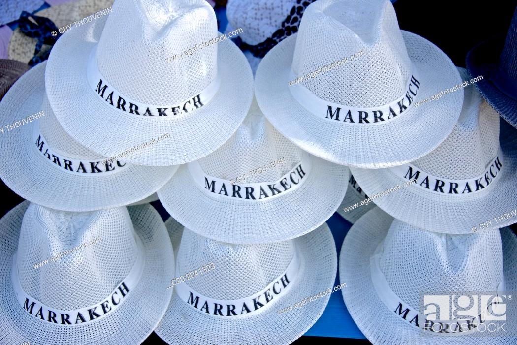 Stock Photo: Hats for sale, Marrakech, Morocco, North Africa.