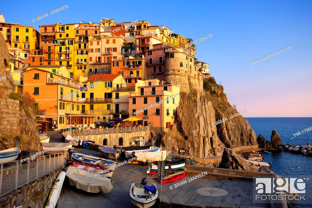 Stock Photo: The medieval village of Manarola in The Cinque Terre, Liguria Italy.