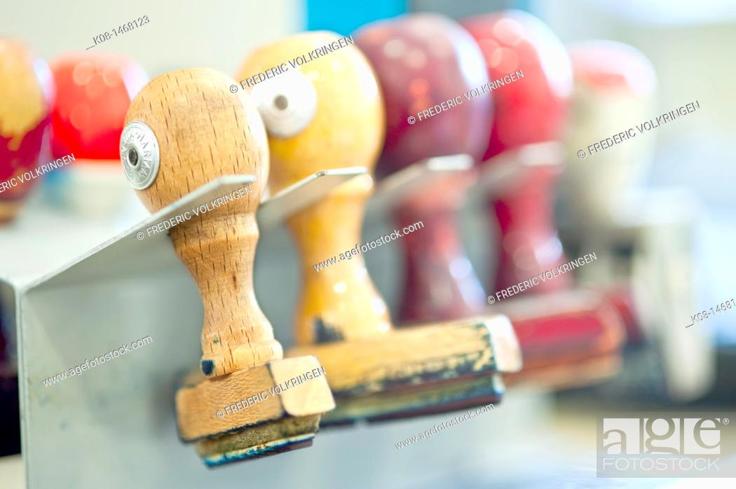 Stock Photo: Rubber stamp, office.