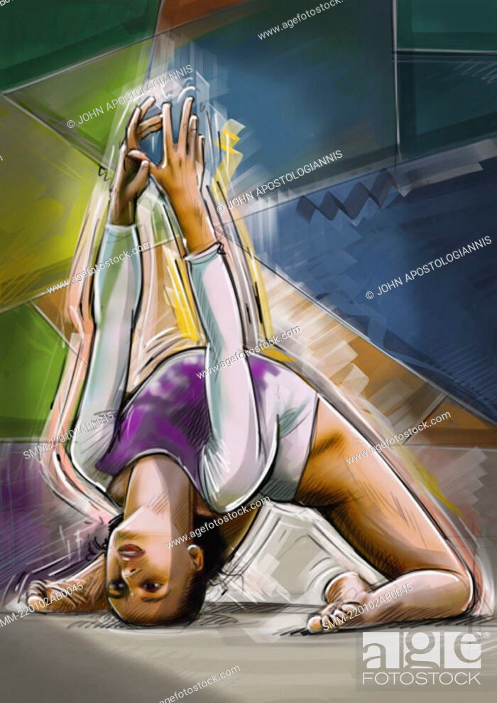 Stock Photo: Female gymnast doing a backbend.