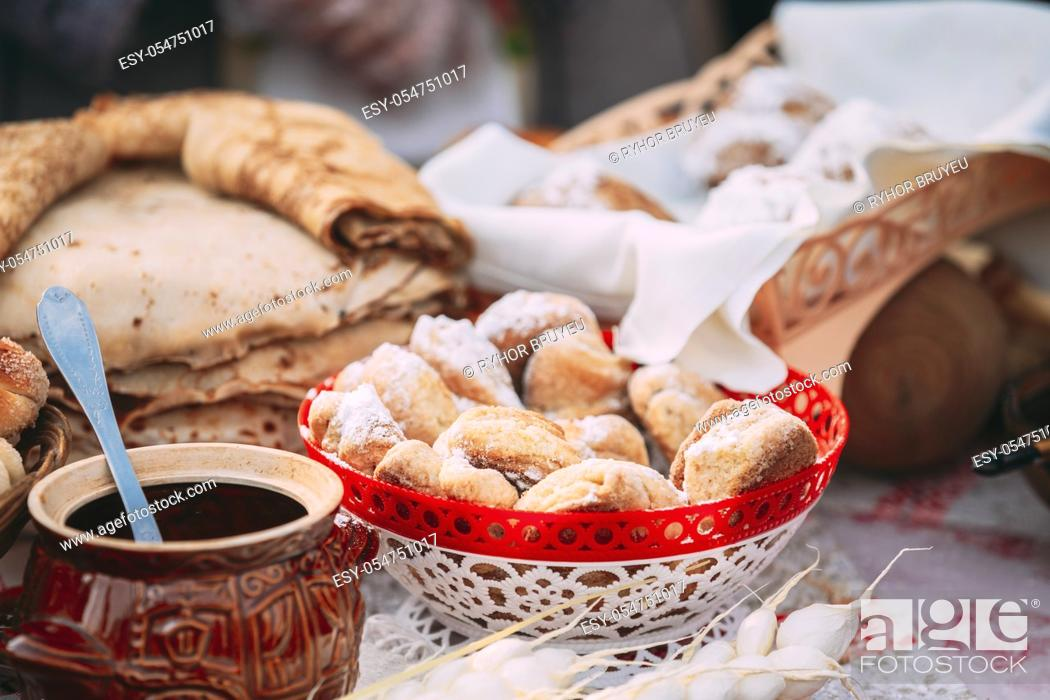 Stock Photo: Dishes Of Traditional Belarusian Cuisine - Fresh Pastries And Honey.