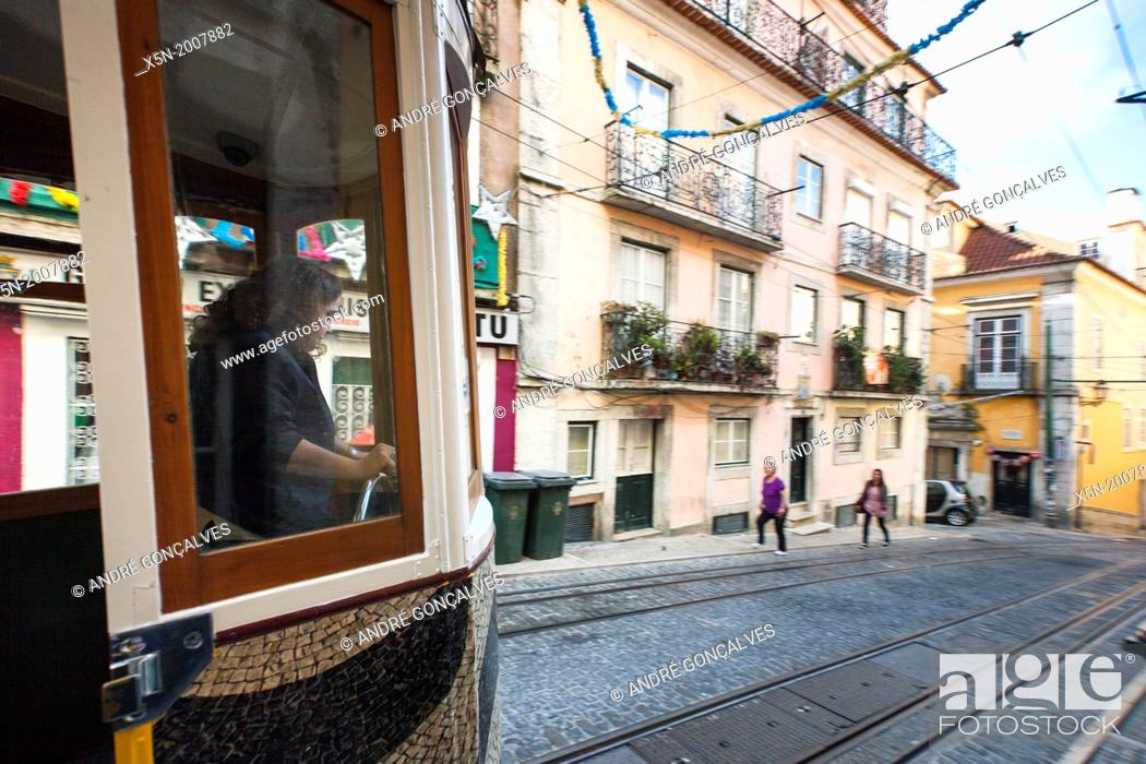 Stock Photo: The Bica Funicular, Lisbon, Portugal, Europe.