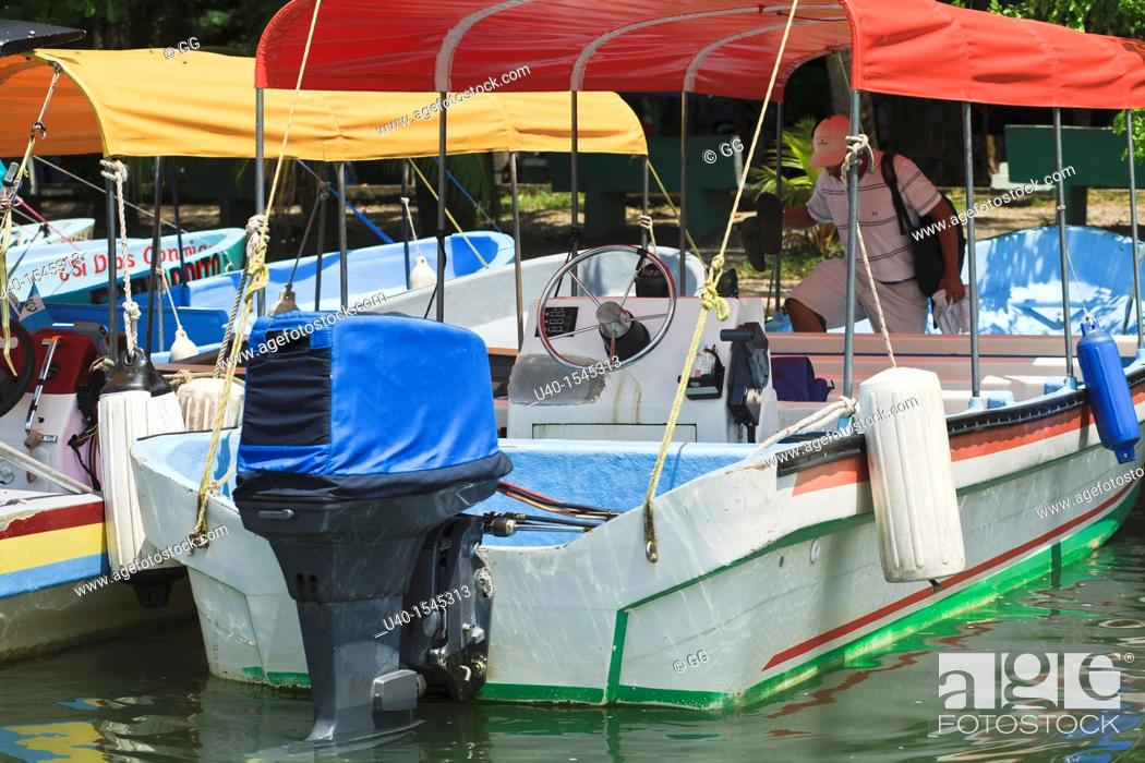 Photo de stock: Outboard motorboats.