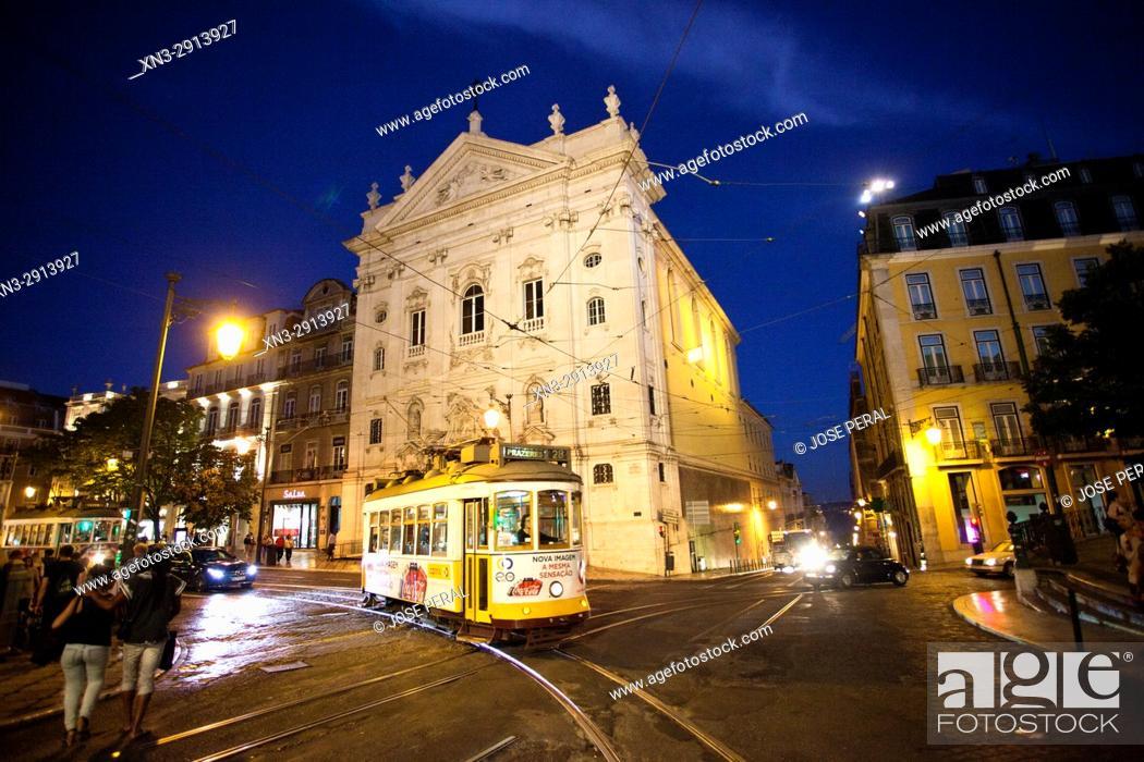 Imagen: Tram, Church of Our Lady of the Incarnation from Luís Camoes Square, Igreja Da Nossa Senhora Da Encarnação, Praça Luís de Camões, Lisbon, Portugal, Europe.