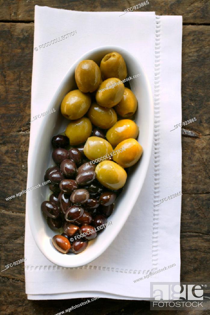 Stock Photo: Marinated olives.