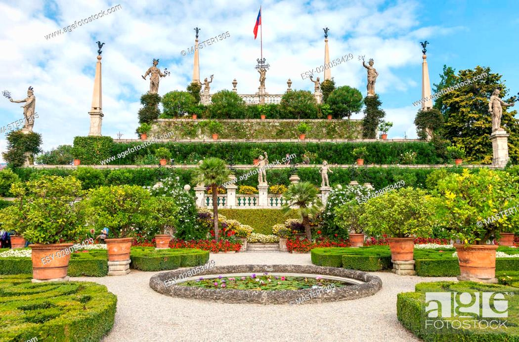 Stock Photo: park on the island of Isola Bella. Northern Italy, Lake Maggiore.