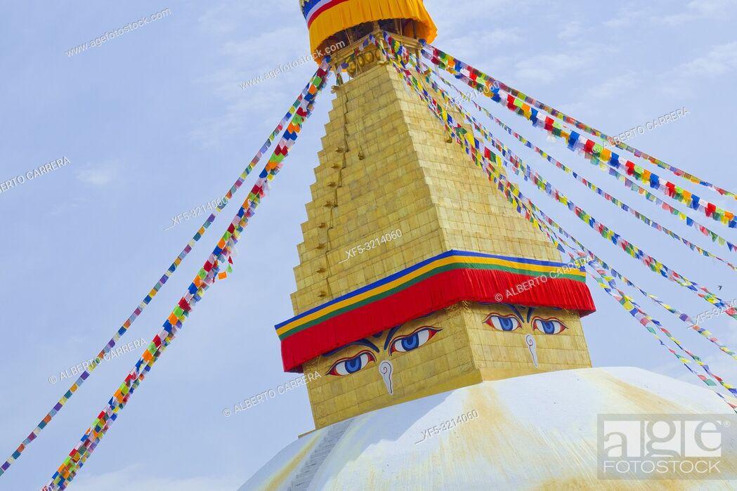 Imagen: Boudhanath Stupa, UNESCO World Heritage Siite, Kathmandu, Nepal, Asia.