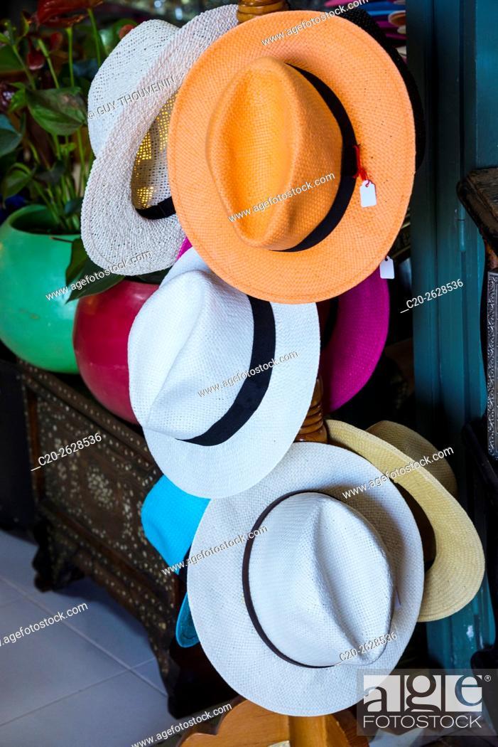 Stock Photo: Hats for sale, tourist shop, Marrakech, Morocco.
