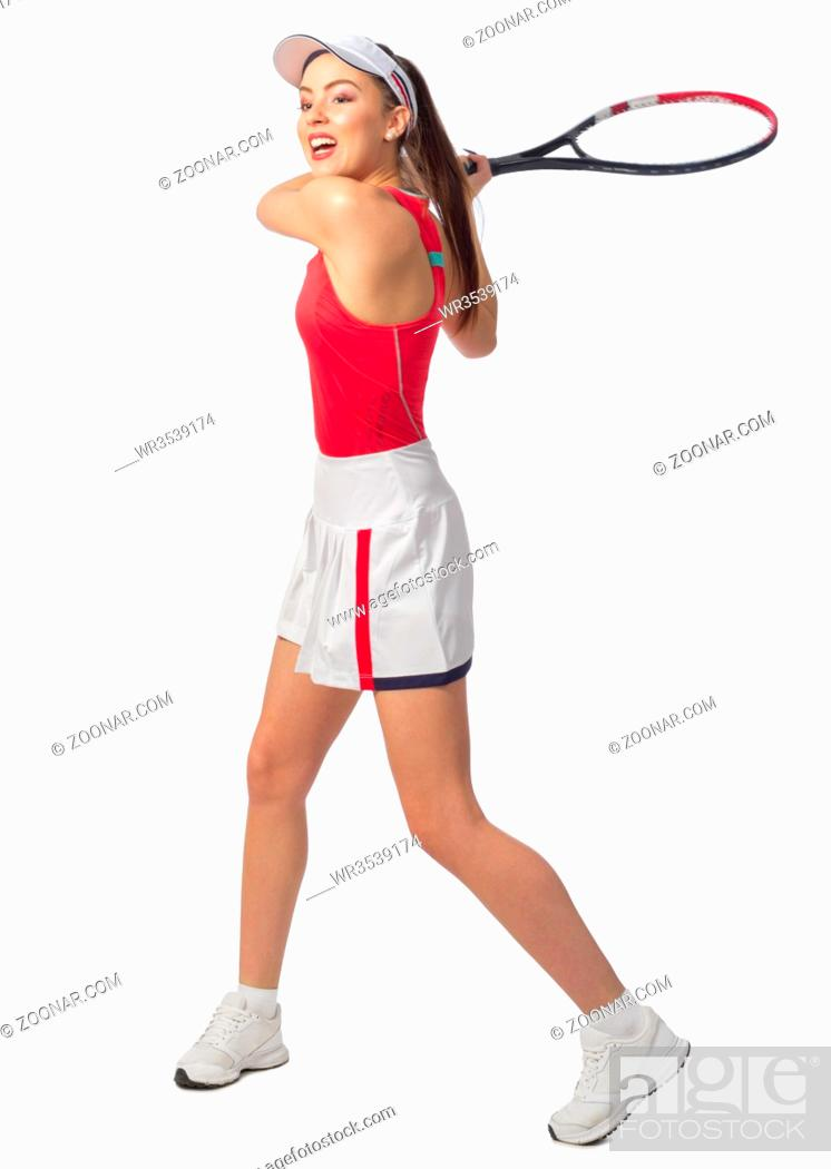 Stock Photo: Young woman tennis player isolated (without ball version).