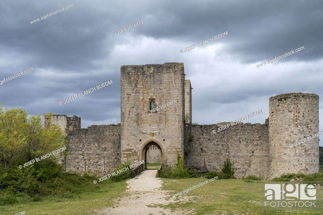 Stock Photo: View of the courtyard of Chateau de Puivert.