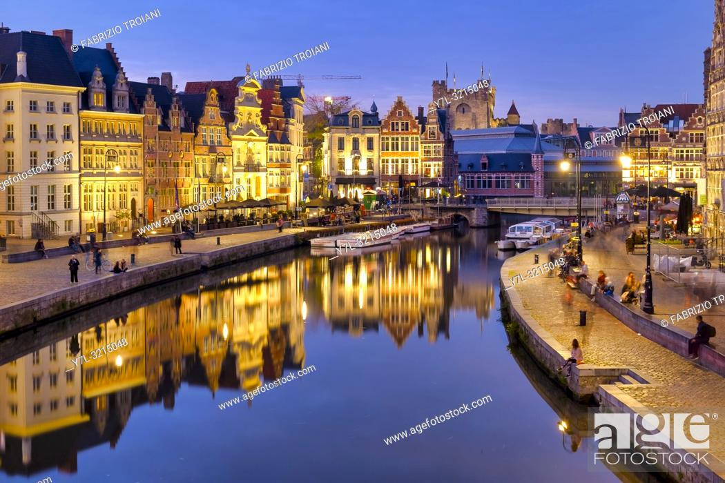 Stock Photo: Korenlei and Graslei, quays in the historic city center of Ghent, Flanders, Belgium.