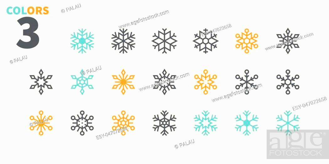 Stock Vector: Snowflakes Pixel Perfect icons Well-crafted Vector Thin Line Icons 48x48 Ready for 24x24 Grid for Web Graphics and Apps. Part 2 Colors 3.