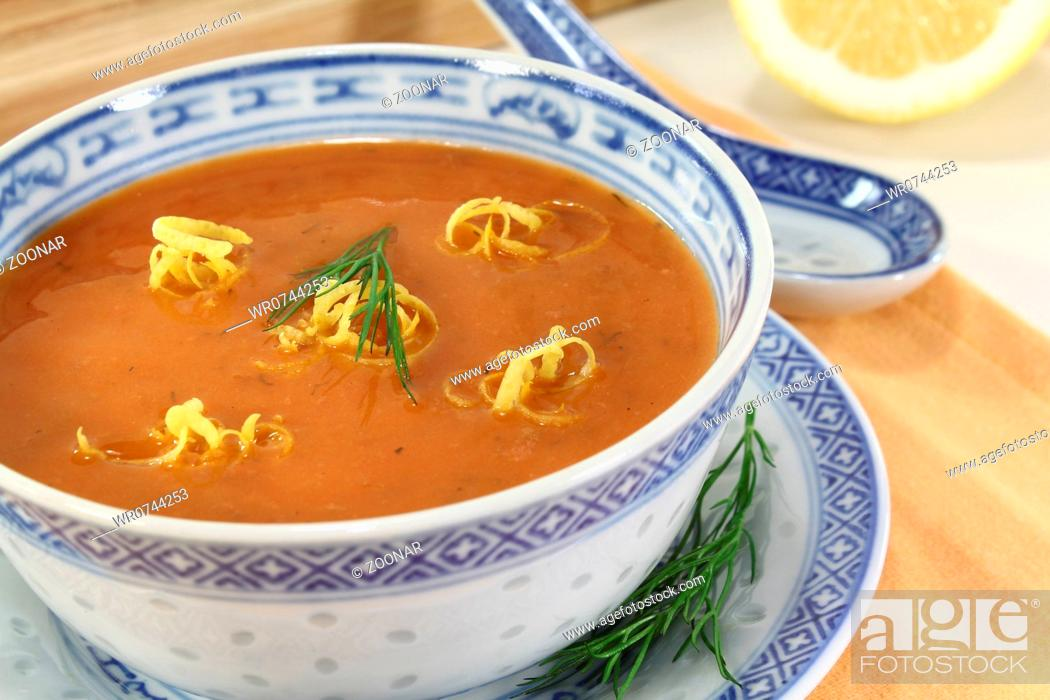 Stock Photo: asian fresh lobster bisque.