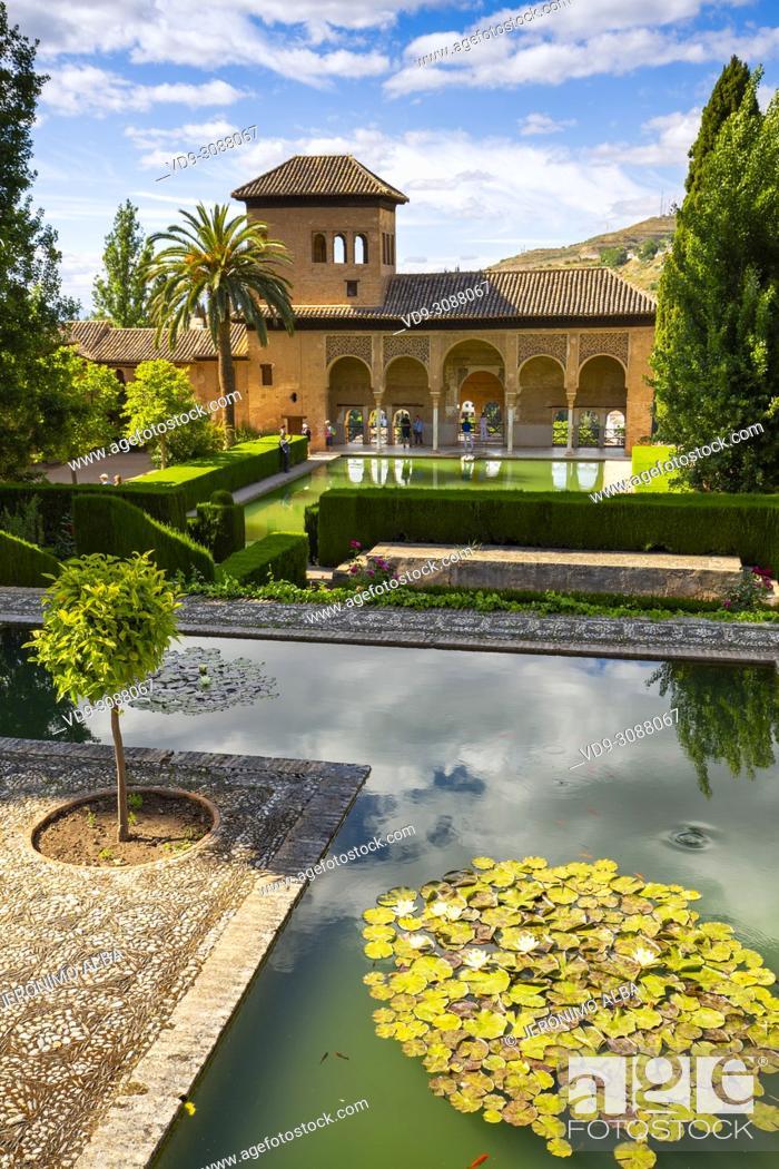 Stock Photo: Torre de las Damas. Gardens, Alberca & fountains. El Partal, Nazaries palaces. Alhambra, UNESCO World Heritage Site. Granada City.