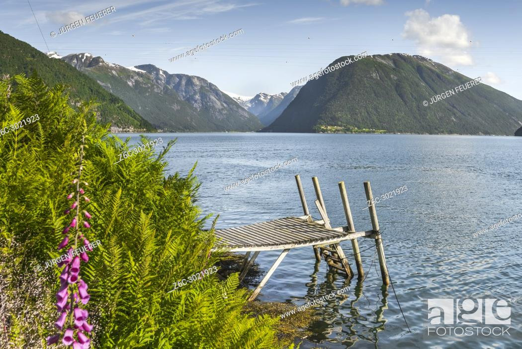 Stock Photo: fjord panorama at the ferry station of Balestrand, Norway, Sognefjorden, old wooden landing stage and view direction to Menes and Lustrafjorden.