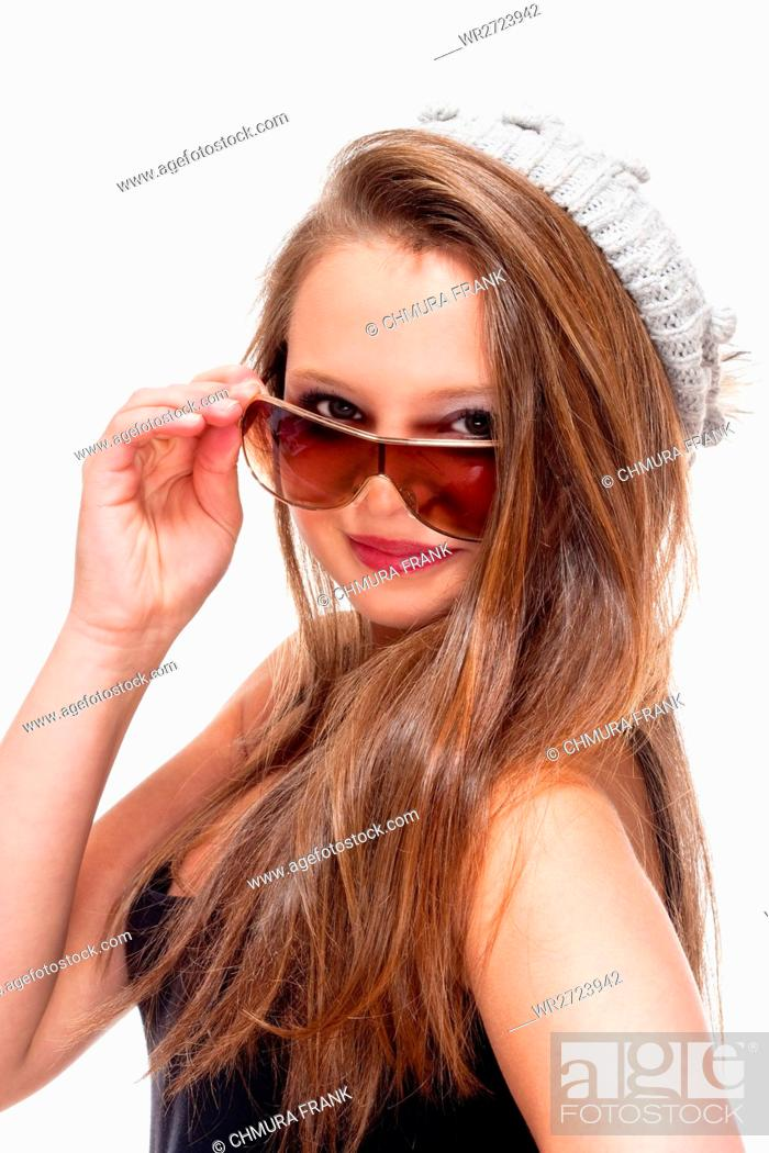 Stock Photo: Portrait of a Teenage Girl with Sunglasses - Isolated on White.