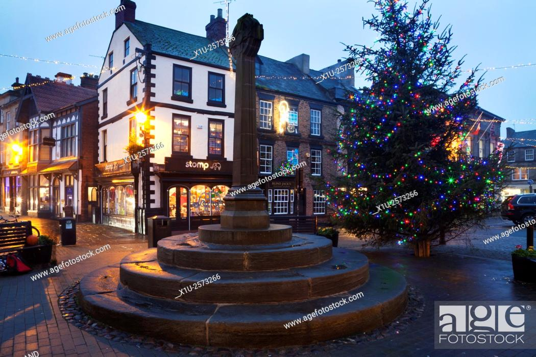 Stock Photo: Market Cross and Christmas Tree in the Market Place at Knaresborough North Yorkshire England.