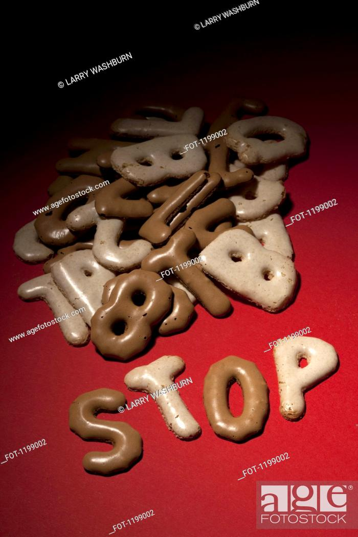Stock Photo: STOP spelt in Russian bread cookies.