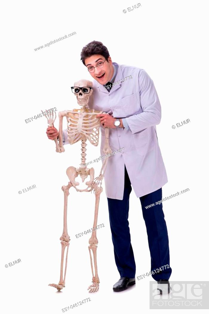 Stock Photo: Young doctor with skeleton isolated on white.