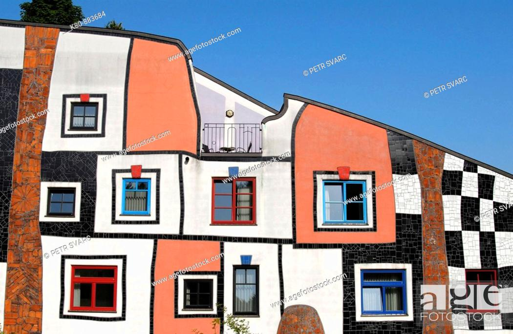 Stock Photo: Detail of Facade of Kunsthaus Art House Building at Rogner Thermal Spa and Hotel Complex Designed by Friedensreich Hundertwasser, Bad Blumau Austria.