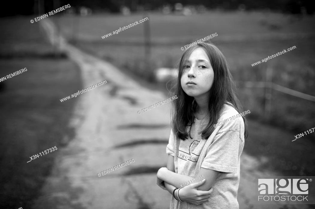 Stock Photo: Girl at end of driveway.