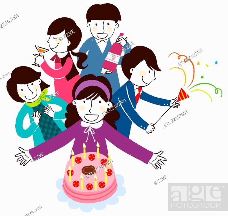 Stock Photo: Birthday celebration on white background.