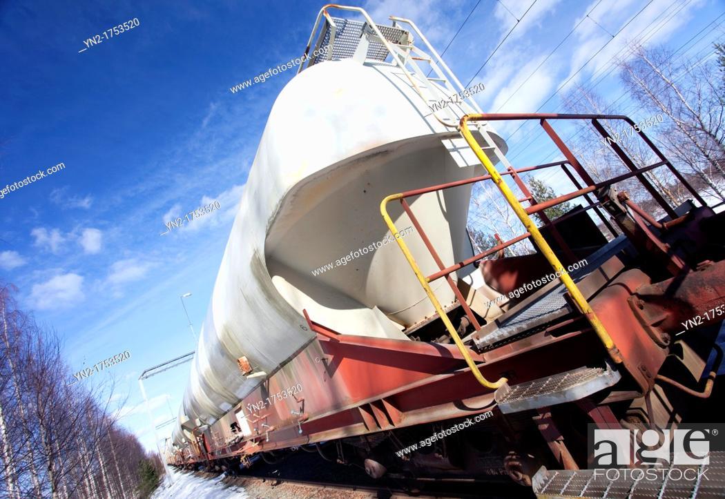 Stock Photo: Train's chemical transport tanks  Location Suonenjoki Finland Scandinavia Europe.