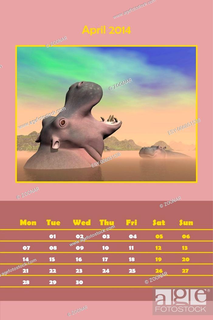 Stock Photo: Safari calendar for 2014 - april.