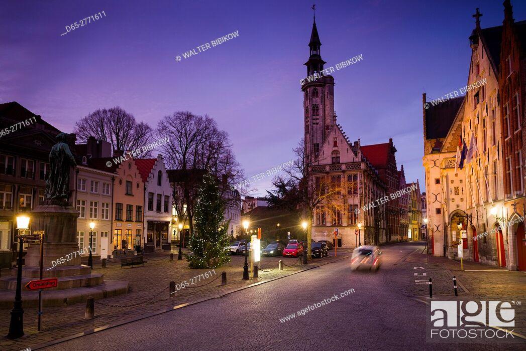 Stock Photo: Belgium, Bruges, Jan van Eyck Square, dawn.