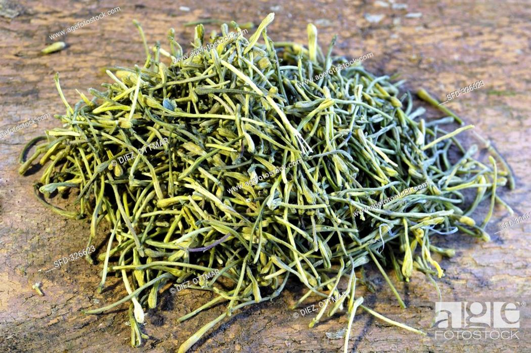 Stock Photo: Jin Yin Hua Dried honeysuckle for tea.