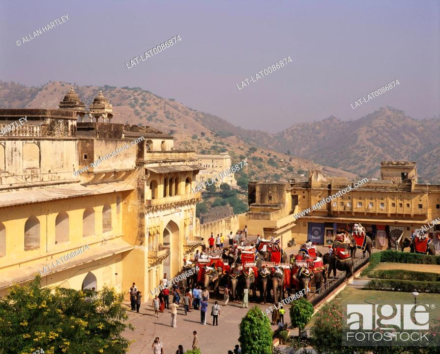 Stock Photo: The Amber Fort is located 11 km from Jaipur,Rajasthan state,India. Built over the remnants of an earlier structure,the palace complex which stands to this date.