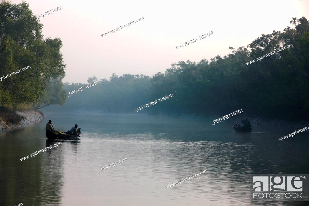 Stock Photo: The Sundarbans, a UNESCO World Heritage Site and a wildlife sanctuary The largest littoral mangrove forest in the world, it covers an area of 38, 500 sq km.