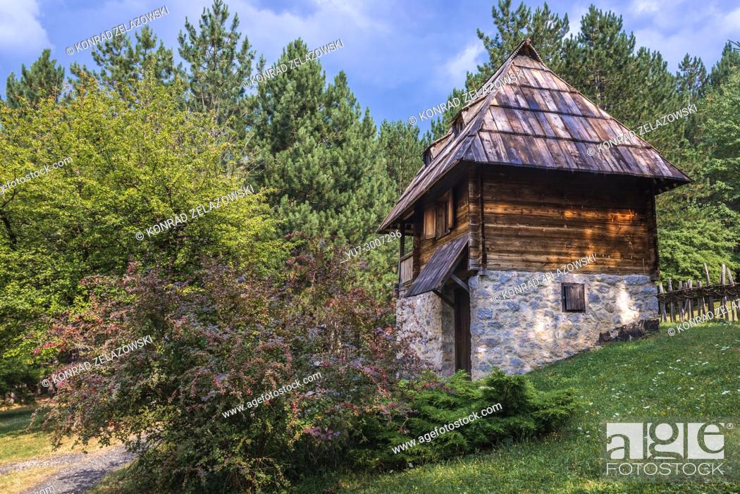 Stock Photo: Lodging cabin for tourists in Ethnographic heritage park called Old Village Museum in Sirogojno village, Zlatibor region in western part of Serbia.