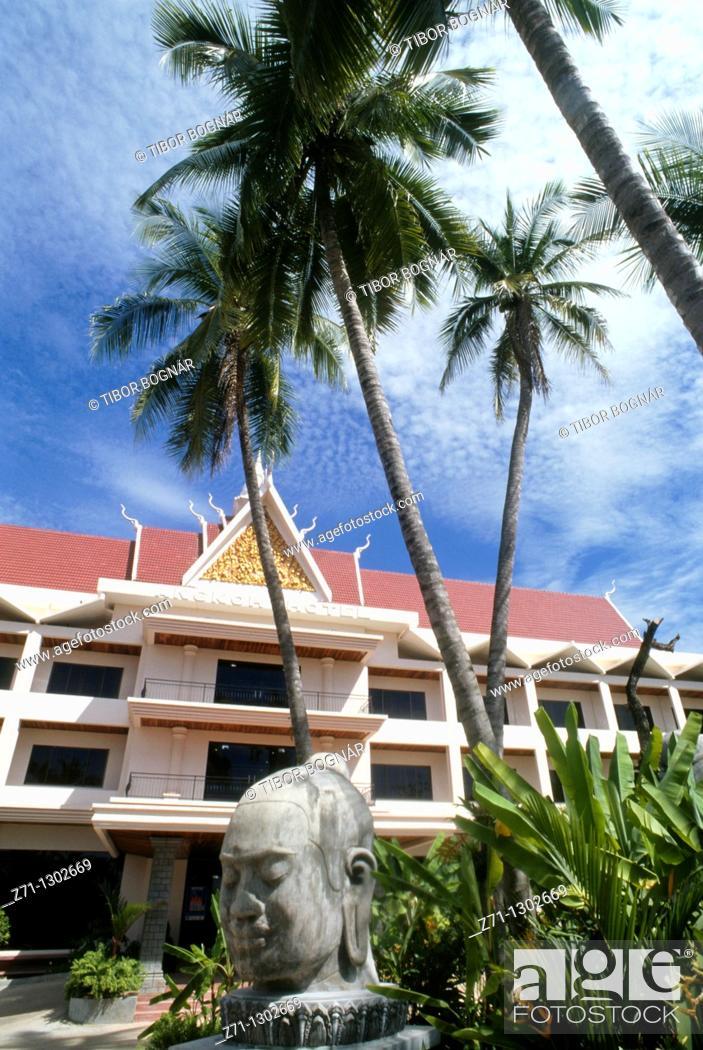 Stock Photo: Cambodia, Siem Reap, Angkor Hotel,.
