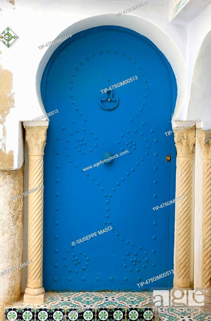 Stock Photo: Africa, Tunisia. Hammamet, typical door.